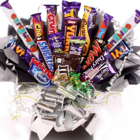 Extra Large Chocolate Bouquet Silver and Black Themed.