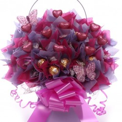 Lindor and Ferrero Rocher Chocolate Bouquet with Milk Chocolate Pink Hearts