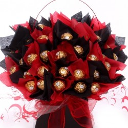 Luxury Ferrero Rocher Bouquet In Black and Red.