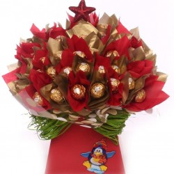 Red and Gold Ferrero Rocher Chocolate Bouquet.
