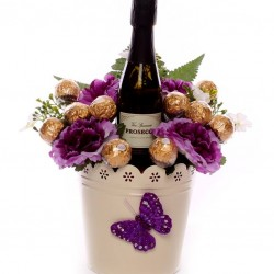 Proseco and Flowers Gift Pot with Ferrero Rocher Chocolates.