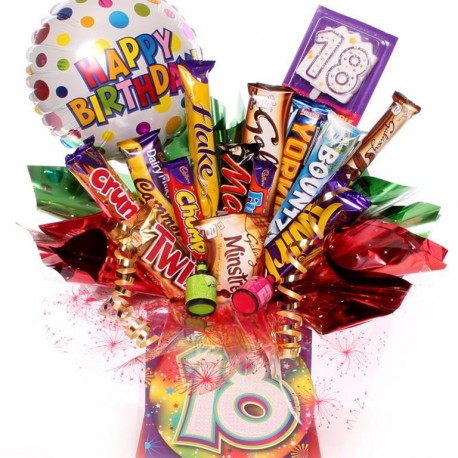 18th Chocolate Bouquet with Balloon and Party Poppers.