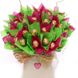 Chocolate Bouquet Gift In Pink and Lime.