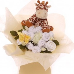 Neutral Baby Bouquet With Soft Giraffe Toy.