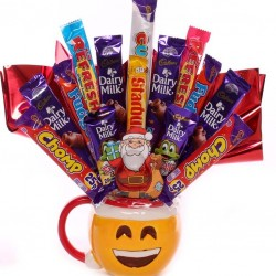 Emoji Christmas Mug With Chocolate Bouquet.