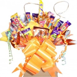 Chocolate Bouquet With A Gold And Orange Theme.