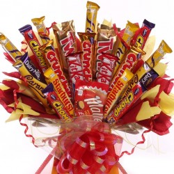 Large Bouquet Of Chocolate Bars Yellow And Red Theme.