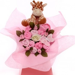 Baby bouquet with soft giraffe toy for a baby girl.