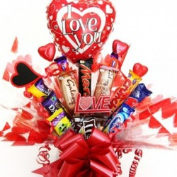 Heart Themed Valentine Chocolate Bar Bouquet