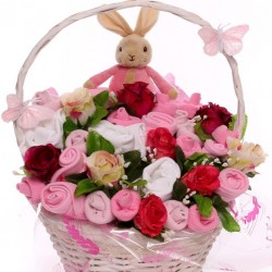 Large Flopsy Rabbit Baby Bouquet  Basket Arrangement For A Baby Girl.