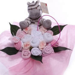 Baby Bouquet Arrangement With Zebra Soft Toy.