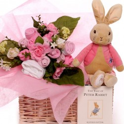 Baby Bouquet Gift Basket With Flopsy Rabbit.