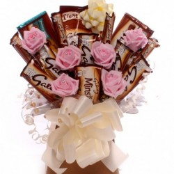 Galaxy and Pink Roses Chocolate Bouquet.