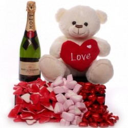Valentine's Day Champagne, Teddy and Sweet Hearts Gift Set.