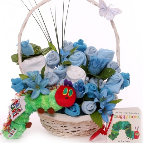 Hungry Caterpillar baby bouquet gift basket.