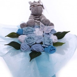 Baby bouquet with soft Zebra toy for a baby boy.