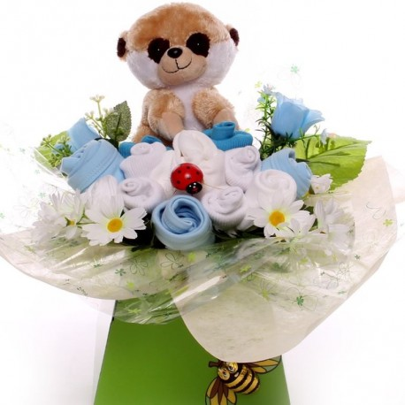 Baby Bouquet Gift For A Baby Boy With Meerkat Toy.